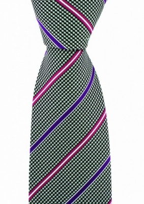 Luxury Brown Dogtooth Silk Tie with Pink and Lilac Stripe by Soprano